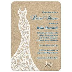 Wedding dress sandy beach themed bridal shower invitation. Starfish, sand, and a lacy dress.