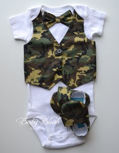 Camo Vest Onesie Bow tie Baby Boy Outfit by babyblushboutique, $48.00