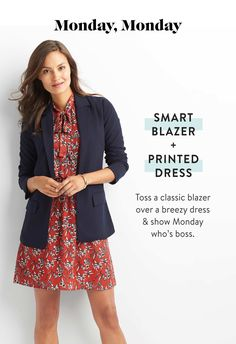 Love the look and dress, assuming it's got a thick strap, sleeves are a bonus. SMART BLAZER AND PRINTED DRESS. Toss a classic blazer over a breezy dress and show Monday who's boss. Business Casual Attire, Business Chic, Business Dresses, Business Wear, Blazer Outfits, Blazer Dress, Work Outfits, Rajputi Dress, Smart Dress