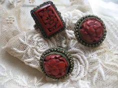 Circa 1920 Cinnabar Ring & Screw Back Earrings