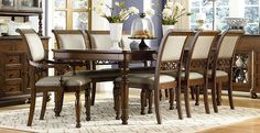 Legacy Classic Thornhill Upholstered Dining Set - Cinnamon Legacy Classics Thornhill Upholstered Dining Set.  Features: Style: Relaxed Traditional Wood: Poplar Solids, Cathedral Cherry Veneer w/Walnut Border & Inlay Finish: Cinnamon Hardware: Custom Designed Ebonized Antique Brass Finished Knobs Fabric Content: 100% Polyester (Gray); Cleaning Code: S Bedroom Furniture Sets, Dining Furniture, Dining Chairs, Dining Table, Dinning Set, Dining Room Sets, Smart Design, Classic Furniture, Antique Brass