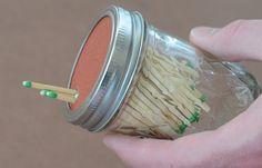 Sandpaper a mason jar lid for strike-able match storage | Camp Like A Redneck #survivalife www.survivallife.com
