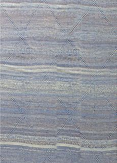 Oversized-Blue Deux Diamond-Moroccan Flat weave Rug N11355