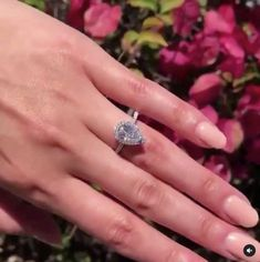 Halo Pear Shape Diamond Engagement Ring, one of the classic diamonds shapes that complement long fingers in an elegant way. Pear Shaped Diamond, Diamond Shapes, Engagement Ring Styles, Fashion Rings, Diamond Rings, Vintage Inspired, Jewels, Crystals, Fingers