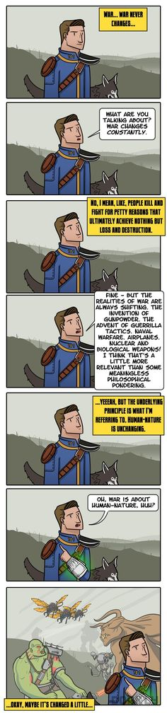 Post with 97 votes and 113 views. Tagged with Funny, , ; Fallout: War Never Changes Fallout Comics, Fallout 4 Funny, Fallout Art, Fallout New Vegas, Fallout Tips, Video Game Memes, Video Games Funny, Funny Games, Dorkly Comics