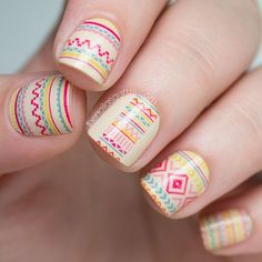 Cool Tribal Nail Art Designs, Tribal nails are created with curving and angular lines. This type of nail art incorporates bold patterns, colors and shapes. Tribal nail art worked t. Tribal Nail Designs, Tribal Nails, Colorful Nail Designs, Nail Designs Spring, Toe Nail Designs, Simple Nail Designs, Beautiful Nail Designs, Pretty Designs, Colorful Nails