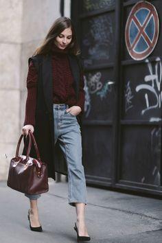 longline vest and chunky knit. London. #VenkaVision