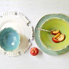Flower Bowls and Platter ceramic serving set in Organic Soul