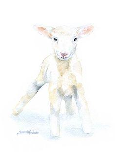 Lamb Watercolor Painting Print  Giclee Print  5 x by SusanWindsor, $11.00
