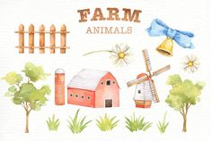 Ad: Farm Animals Watercolor clipart by everysunsun on The set of high quality hand painted watercolor farms animals and elements. A pig, sheep, goat, chicken, cow and other animal illustrations Animals Watercolor, Watercolor Clipart, Watercolor Background, Art Clipart, Forest Animals, Woodland Animals, Nursery Prints, Nursery Art, Farm Animals For Kids
