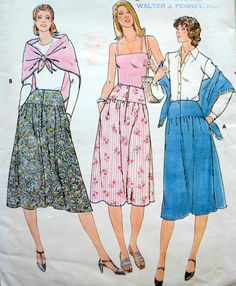 Uncut Vintage 1970s Easy Misses Front Button Hip Yoke Below Mid-Knee Skirt & Square Shawl Waist Size 25 Paper Sewing Pattern Butterick 6036