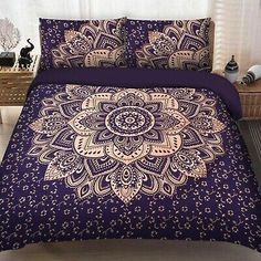 Find many great new & used options and get the best deals for Hippie Blue Gold Ombre Mandala King Size Bedding Bedspread Duvet Doona Cover Set at the best online prices at eBay! Free shipping for many products! Duvet Bedding, Comforter Cover, King Duvet, Queen Duvet, Queen Size Bedding, Cotton Bedding, Bedding Sets, Cotton Fabric, Mandalas