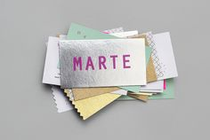 "Marte Estudio Branding by Bienal Comunicación ""When creating the identity of Marte Estudio the inspiration was based on eclecticism, a defining quality of the creator Mariana Abraham whom has a unique, lively and versatile personality reflected in. Blog Design Inspiration, Business Card Design Inspiration, Business Design, Corporate Design, Branding, Bussiness Card, Wow Art, Print Layout, Logo Sticker"