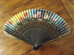 Madrid Spain Folding Hand Fan_Antique Spanish by GoldenBeeAntiques