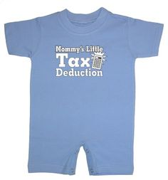 So Relative! - Mommys Little Tax Deduction - Infant and Toddler Short Sleeve T-Shirt Romper (Lt Blue 6 Months)