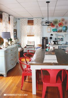 Home Office & Craft Space tour... and these red dining room chairs - oh my!