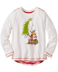 We're partnering with Dr. Seuss in this magical new limited edition collection featuring the one and only Grinch Who Stole Christmas. Cozy, cozy, cozy never ends in our sueded jersey tees made extra awesome with stripes on the back, a hi-lo hem and must-have Grinch-themed artwork on front.