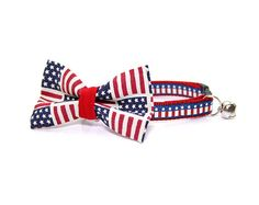 Independence Day  Bow Tie Cat Collar Set