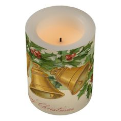 Vintage Christmas Gold Bells & Frozen Holly Flameless Candle