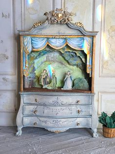 Dollhouse Toy Theatre Cabinet 1:12 Dollhouse Scale