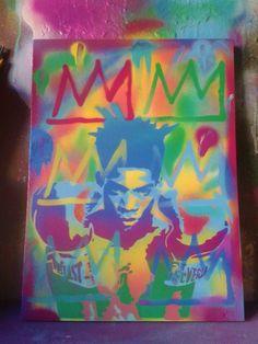 Jean Michel Basquait stencil art by AbstractGraffitiShop on Etsy, $70.00