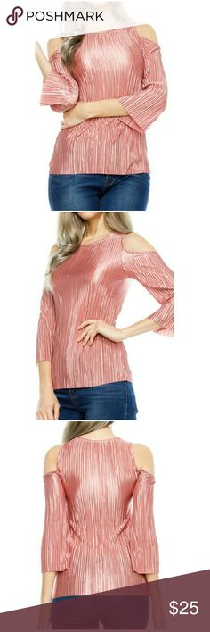 """CLOSET CLEAROUT 🏵 PLEATED COLD SHOULDER TOP🏵 100% Poly 24"""" long Made In USA COLOR SWATCH Tops"""