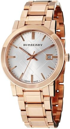 a1abc10d0b Shop for Burberry Men's 'Large Check' Silver Dial Rose Gold Steel Watch.  Get free delivery at Overstock - Your Online Watches Store!