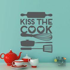 Hey, I found this really awesome Etsy listing at https://www.etsy.com/listing/128228143/kiss-the-cook-vinyl-wall-decal-sticker