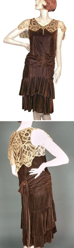 1920s silk velvet dress ruched on front and sides of bodice. Skirt is layered, gathered, and graduated. Tea-dyed antique tapelace collar. Ecru silk lining. Via Giddy/Ruby Lane.
