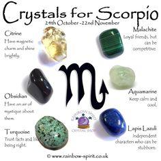 * Crystals for Scorpio - Aquamarine, Citrine, Lapis Lazuli, Malachite, Obsidian, Turquoise