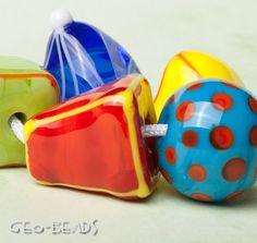 Geo Beads  set of 5 artisan lampwork beads by GlassGeoBeads, $25.00 ETSY<3<3<3