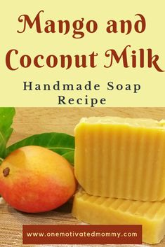 Mango and Coconut Milk Soap Recipe soap recipes Mango and Coconut Milk Handmade Soap Recipe Handmade Soap Recipes, Soap Making Recipes, Handmade Soaps, Diy Soaps, Coconut Soap, Coconut Milk, Diy Beauté, Sell Diy, Mango