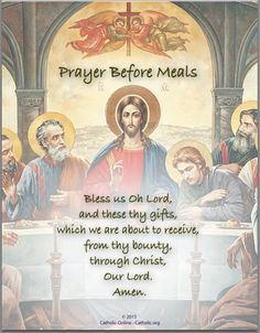 Prayers - Prayer Before Meals by Catholic Shopping .com | FREE Digital Download PDF