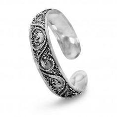 Stunning Sterling Silver Bali Cuff Bangle Bracelet