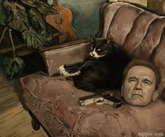 bijijoo Still Life with Arnold Schwarzenegger, a Gun (.40 caliber Smith & Wesson), and a Cat 13in x 16in Oil on Panel