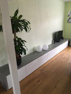 Ikea Besta cabinet with concrete optic plate Living Room Tv, Living Room Colors, Living Room Modern, Interior Design Living Room Warm, Home Interior Design, Casa Hipster, Concrete Furniture, Room Inspiration, Decoration