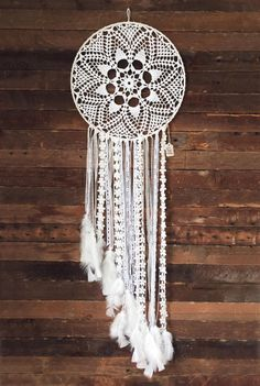 White Magic Dreamcatcher  Ivory Lace and White by CleanSl8 on Etsy