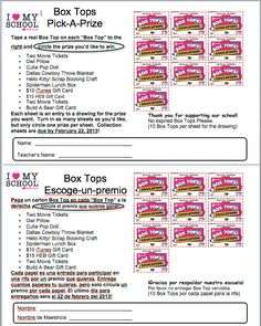 Great Collection Sheet by picking a prize! Cool idea, but might do 25 Box Tops instead of 10 Pta School, School Fundraisers, School Stuff, School Ideas, Box Tops Contest, Box Top Collection Sheets, Student Council, Teacher Appreciation Week, Parents As Teachers