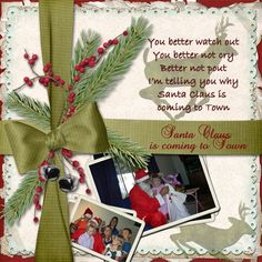 Santa is coming to Town - My Album - Gallery - Scrap Girls Digital Scrapbooking Forum Holiday Song, Song Inspiration, Santa Claus Is Coming To Town, Cool Watches, Digital Scrapbooking, Layouts, Gift Wrapping, Album, Songs