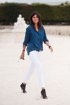 White jeans + Chambray shirt + black lace stilletto booties