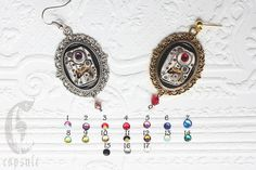 Choose your Color Swarovski Crystals // Silver Earrings // Steampunk Victorian Cameo with Antique Etched Striped Watch Movements
