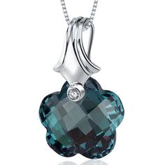 Florentine Cut 17.00 Carat Alexandrite Necklace in Sterling Silver