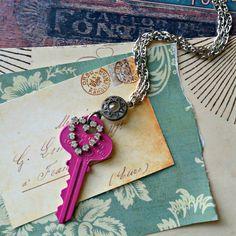 recycled key necklace raspberry pink patina by FabFleaMarket