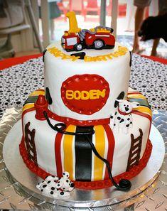 Firetruck themed cake