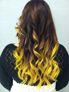 Pravana neon yellow ombre hair! This is what you call hair with personality )