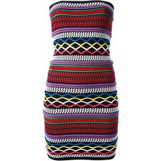 DSQUARED2 Patterned Tube Dress ($260) ❤ liked on Polyvore featuring dresses, elastic dress, mixed print dress, dsquared2, pattern dress and tube dresses