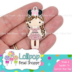 53mm PINK MINNIE MOUSE Girl Rhinestone Pendant Brunette Mouse Ears Bow Headband Park Chunky Necklace Pendant Bling Bubblegum Beads