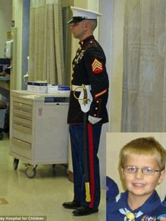 Cody Green was a 12-year kid in Indiana who was diagnosed with leukemia at 22 months old. He loved the Marines, and his parents said he drew strength and courage from the Marine Corps as he bravely fought the battle into remission three times. Although he was cancer-free at the time, the chemotherapy had lowered his immune system & he developed a fungus infection that attacked his brain.