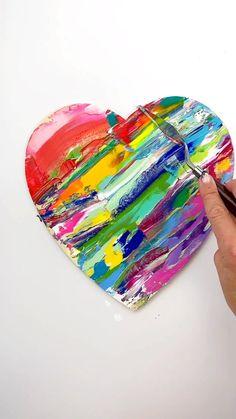 Tableau Pop Art, Diy Canvas Art, Heart Art, Painting Techniques, Art Lessons, Art For Kids, Arts And Crafts, Cute Art Projects, School Art Projects