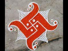 Easy Rangoli Designs Videos, Rangoli Designs Simple Diwali, Indian Rangoli Designs, Rangoli Designs Latest, Rangoli Designs Flower, Free Hand Rangoli Design, Rangoli Patterns, Small Rangoli Design, Rangoli Border Designs